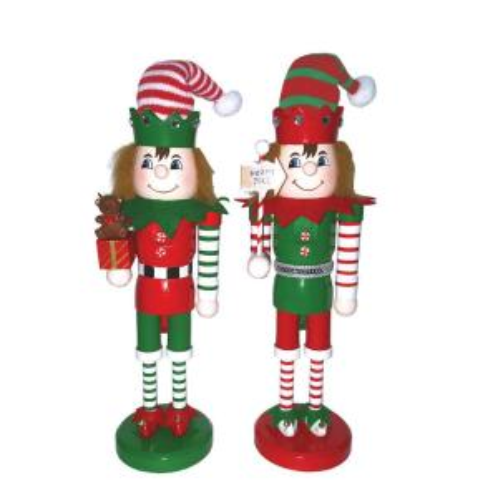 14 in. Elf Nutcracker with Santa Hats (2 Assorted)