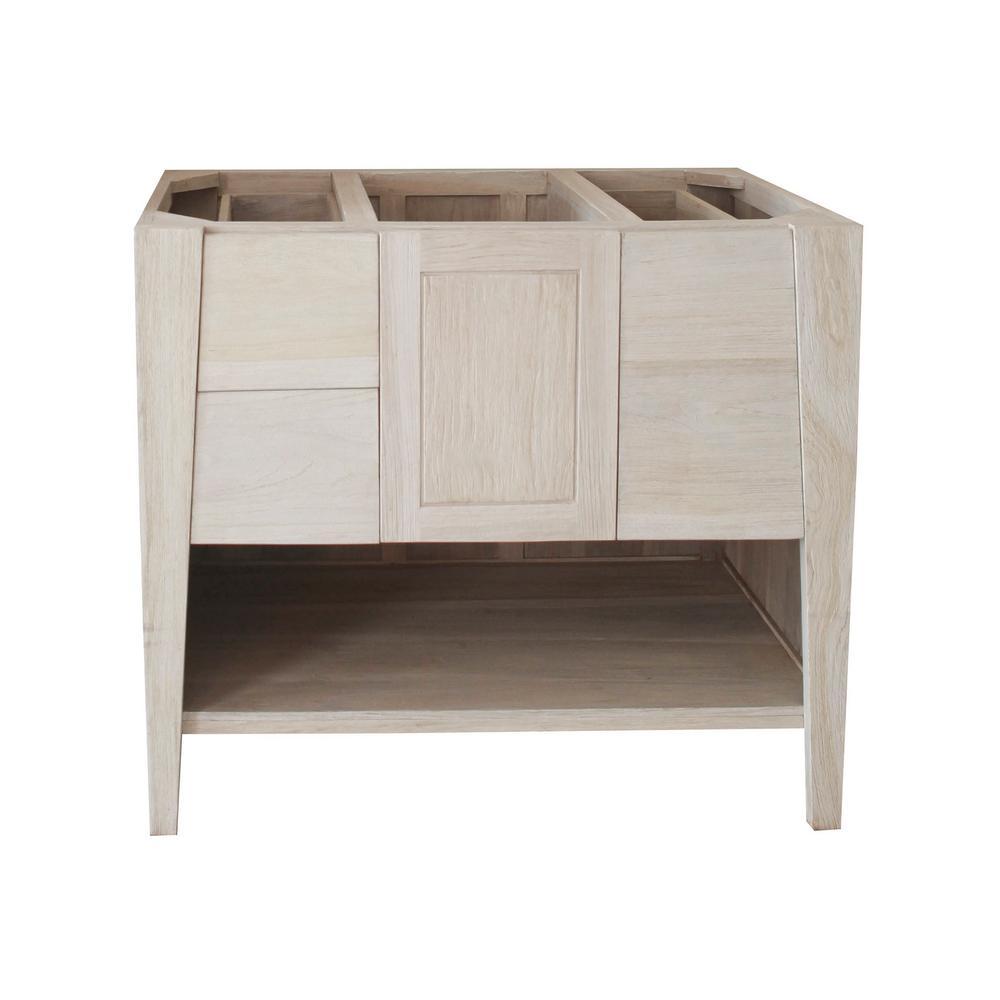 Coastal Vogue Significado 36 in. W Teak Vanity Bath Cabinet Only in Driftwood