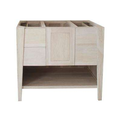 Significado 36 in. W Teak Vanity Bath Cabinet Only in Driftwood