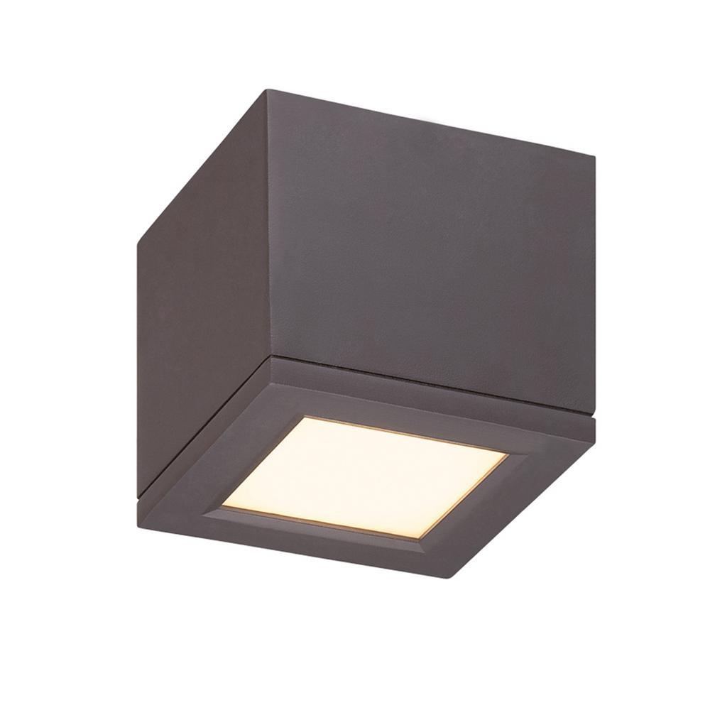 Rubix 5 in. 1-Light Bronze ENERGY STAR LED Indoor or Outdoor Flush Mount