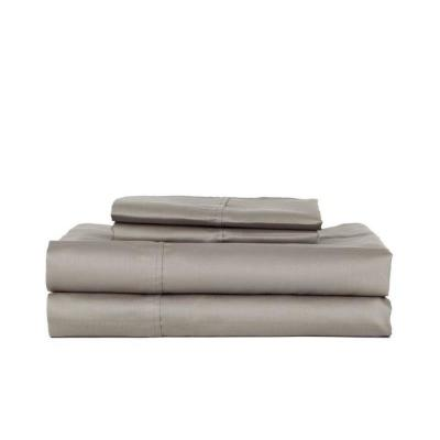 4-Piece Grey Solid 280 Thread Count Cotton King Sheet Set