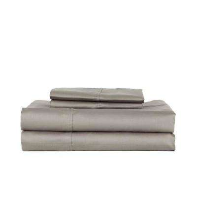 Grey T320 Solid Combed Cotton Sateen King Sheet Set