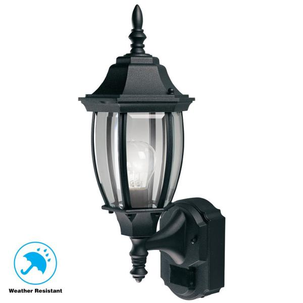Hampton Bay Alexandria 180 Black Motion Sensing Outdoor Decorative Wall Lantern Sconce Hbi 4192 Bk The Home Depot