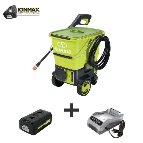 Sun Joe 40-Volt 1160 PSI 0.79 GPM Cold Water Cordless Electric Pressure Washer Kit with 5.0 Ah Battery + Charger