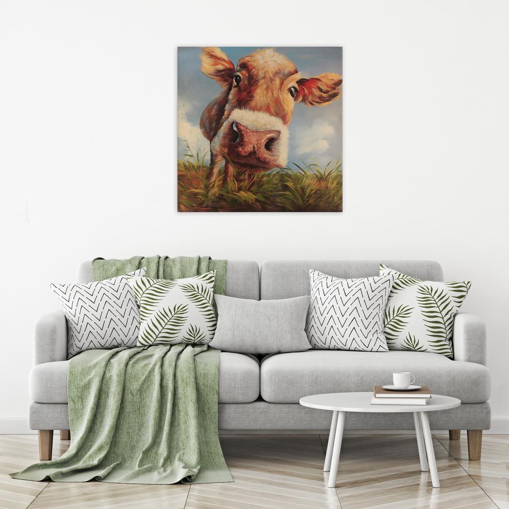 24 In X 24 In Cow In Field Canvas Print Unframed