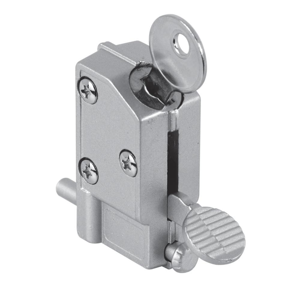 1-1/8 in. x 2-15/16 in. Diecast Keyed Step-on Sliding Door Lock