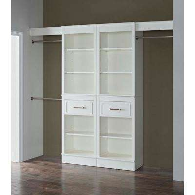 16 in. D x 96 in. W x 84 in. H Parisian White Wood Double Closet System