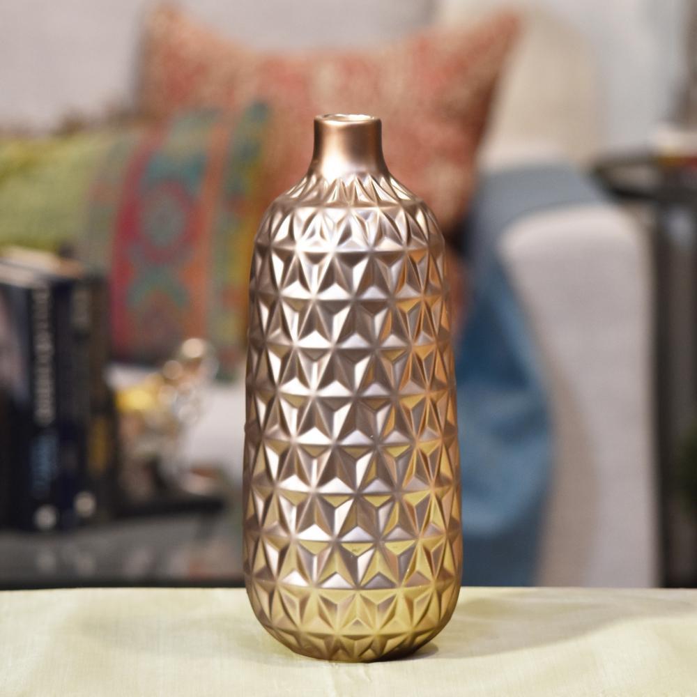 Rose Gold Matte Ceramic Decorative Vase