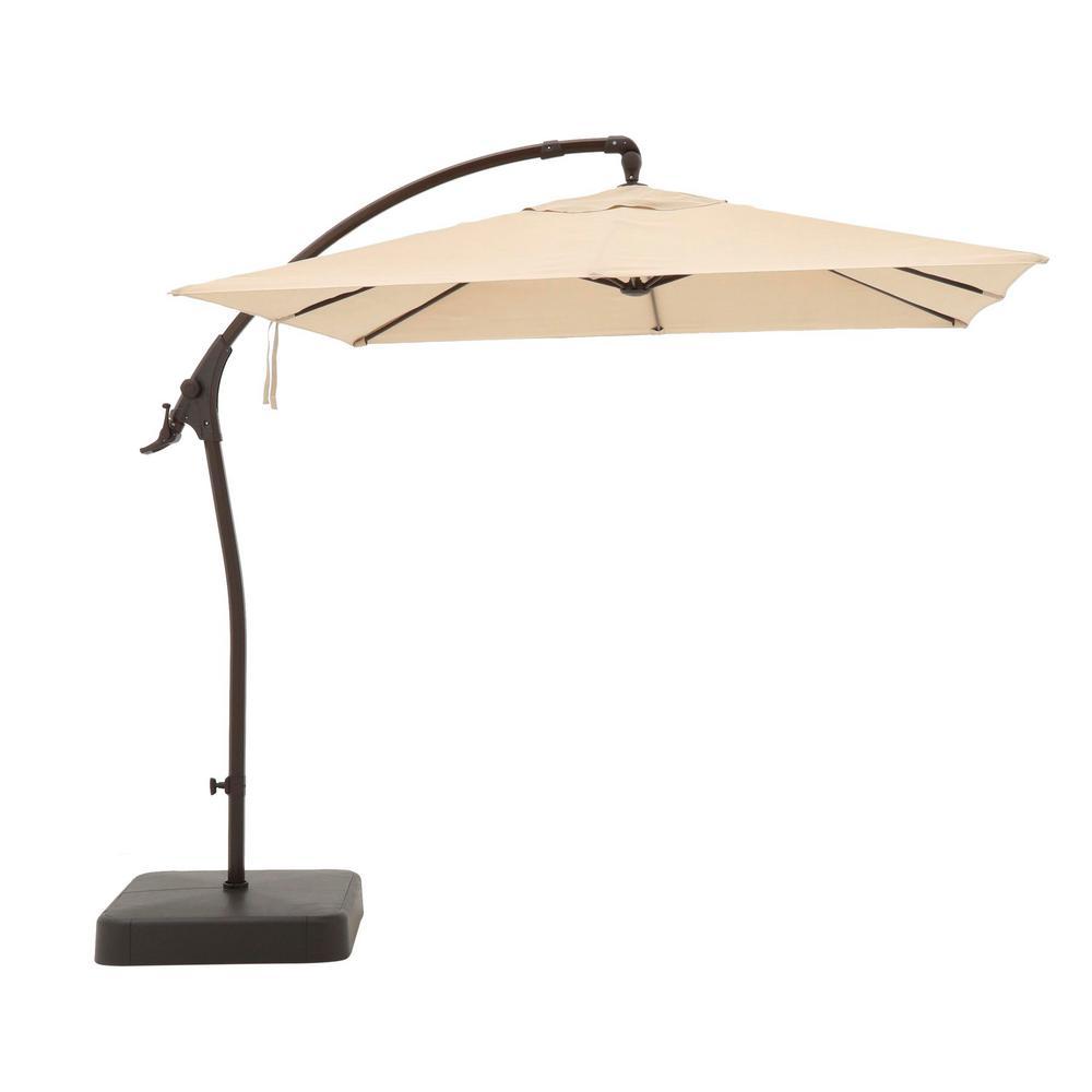 8 ft. Square Aluminum Cantilever Offset Outdoor Patio Umbrella in Putty Tan