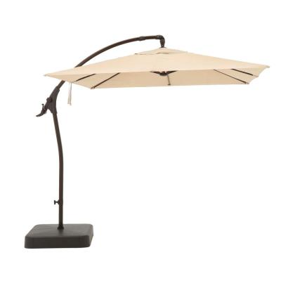 8 ft. Square Aluminum Cantilever Offset Outdoor Patio Umbrella in Putty Tan