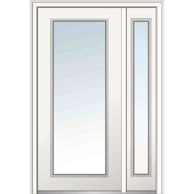 50 in. x 80 in. Clear Glass Full Lite Left Hand Classic Primed Fiberglass Smooth Prehung Front Door with One Sidelite