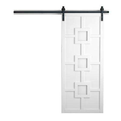 36 in. x 84 in. Mod Squad Bright White Wood Barn Door with Sliding Door Hardware Kit