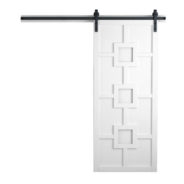 42 in. x 84 in. Mod Squad Bright White Wood Sliding Barn Door with Hardware Kit