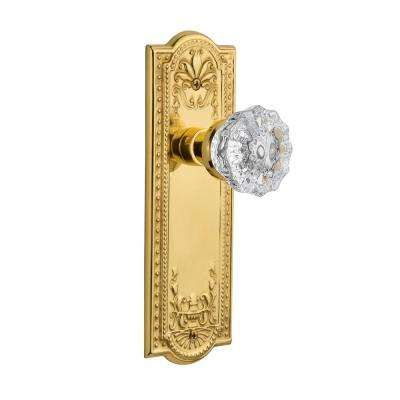 Meadows Plate Double Dummy Crystal Glass Door Knob in Unlacquered Brass