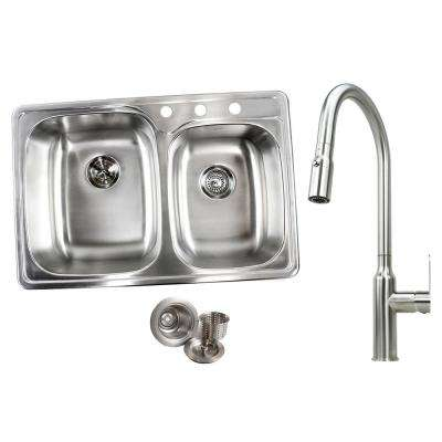 Topmount Drop-In Stainless Steel 33 in. x 22 in. x 9 in. 3-Hole 60/40 Offset Double Bowl Kitchen Sink and Faucet Combo