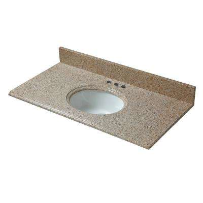 37 in. W x 19 in. D Granite Vanity Top in Beige with White Basin
