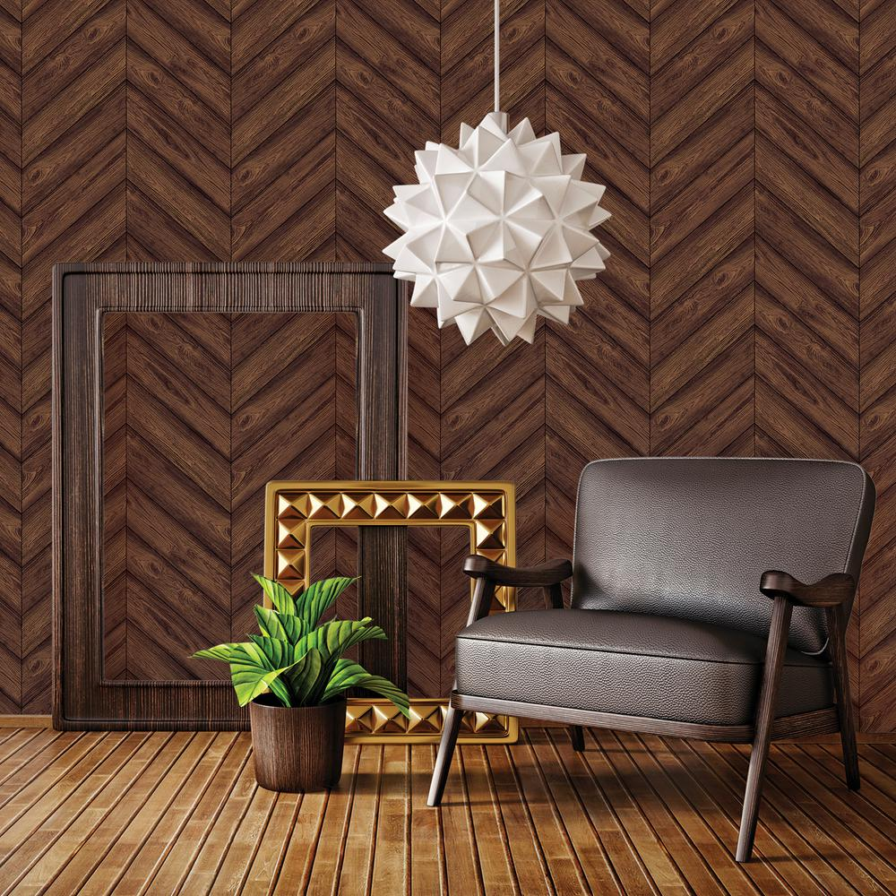 Tempaper Walnut Herringbone Wallpaper He093 The Home Depot