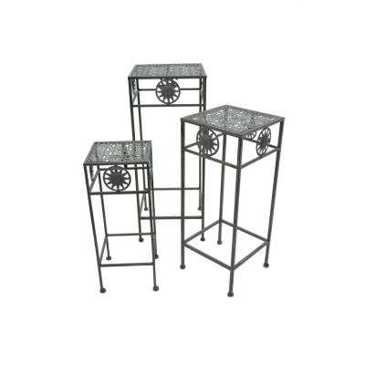 Grey Square Plant Stand (Set of 3)