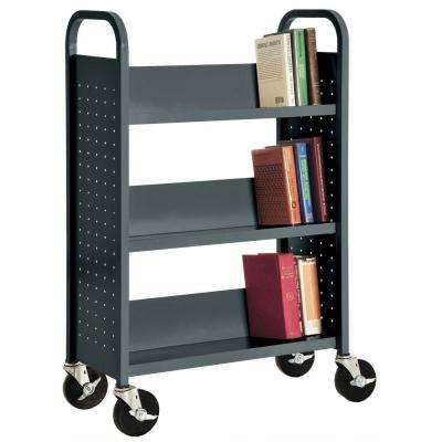 32 in. W x 14 in. D x 46 in. H Single Sided 3-Sloped Shelf Booktruck in Charcoal
