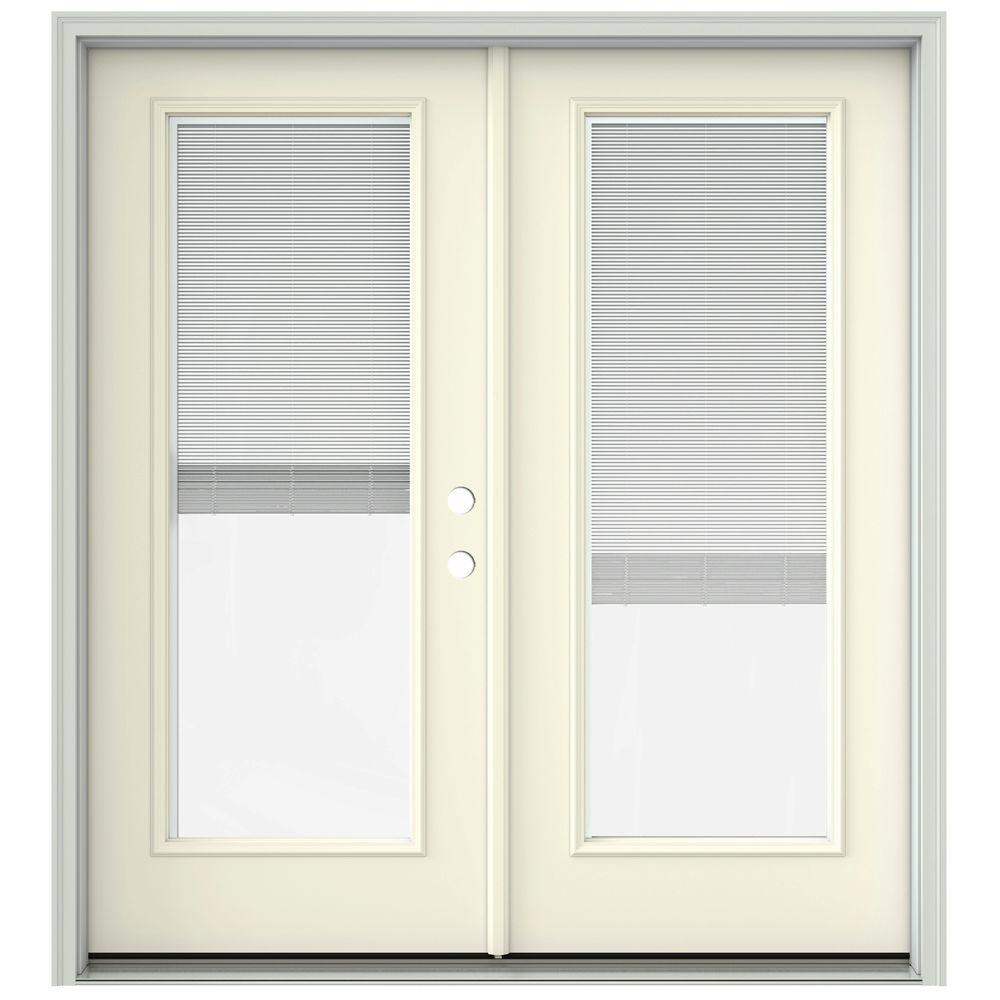 jeld wen 72 in x 80 in french vanilla prehung left hand inswing french patio door with. Black Bedroom Furniture Sets. Home Design Ideas