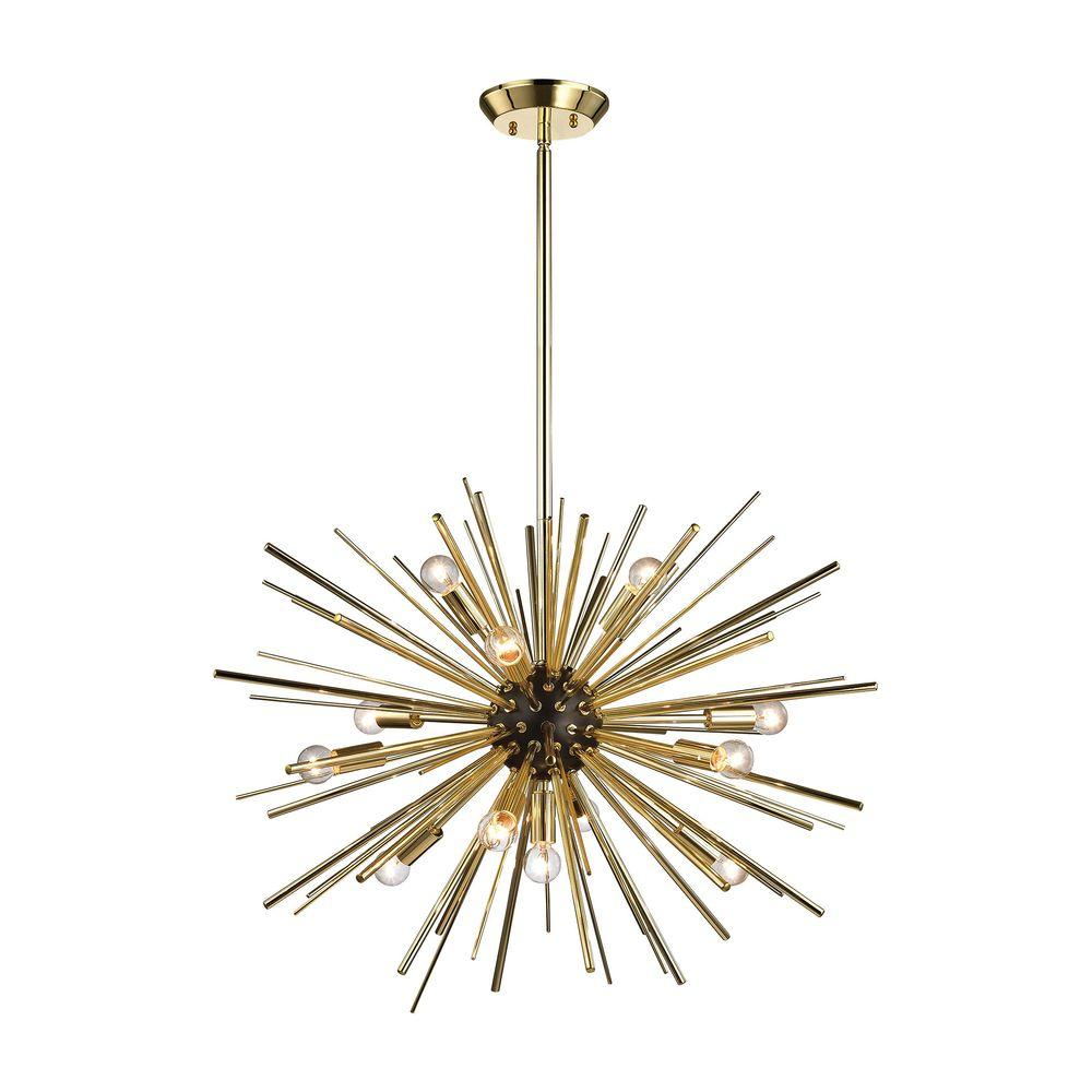 Titan lighting starburst 12 light gold pendant