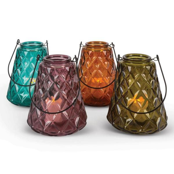 Gerson Assorted Glass Votive Candle Holders (Set of 4) 94083EC
