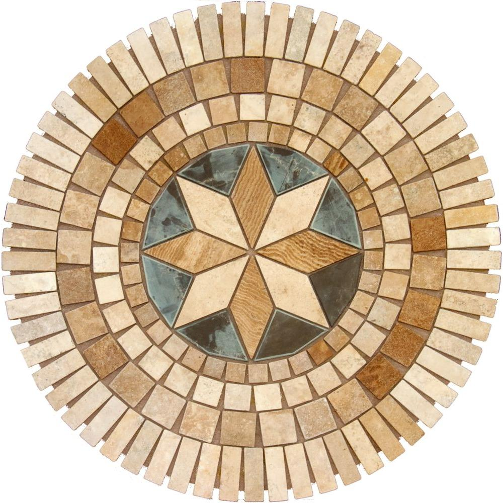 MS International Medallion 7116, 36 In. Travertine Floor and Wall Tile-DISCONTINUED