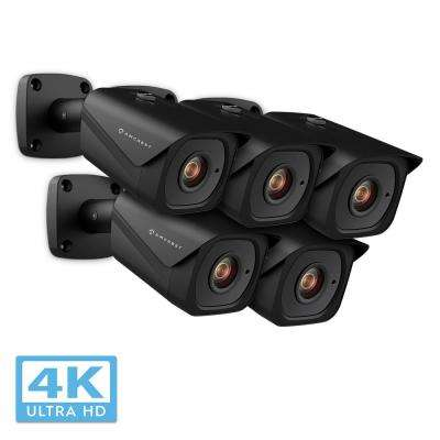 UltraHD 4K (8MP) Outdoor Bullet POE IP Security Camera with 98 ft. Night Vision IP67 Weatherproof, Black (5-Pack)