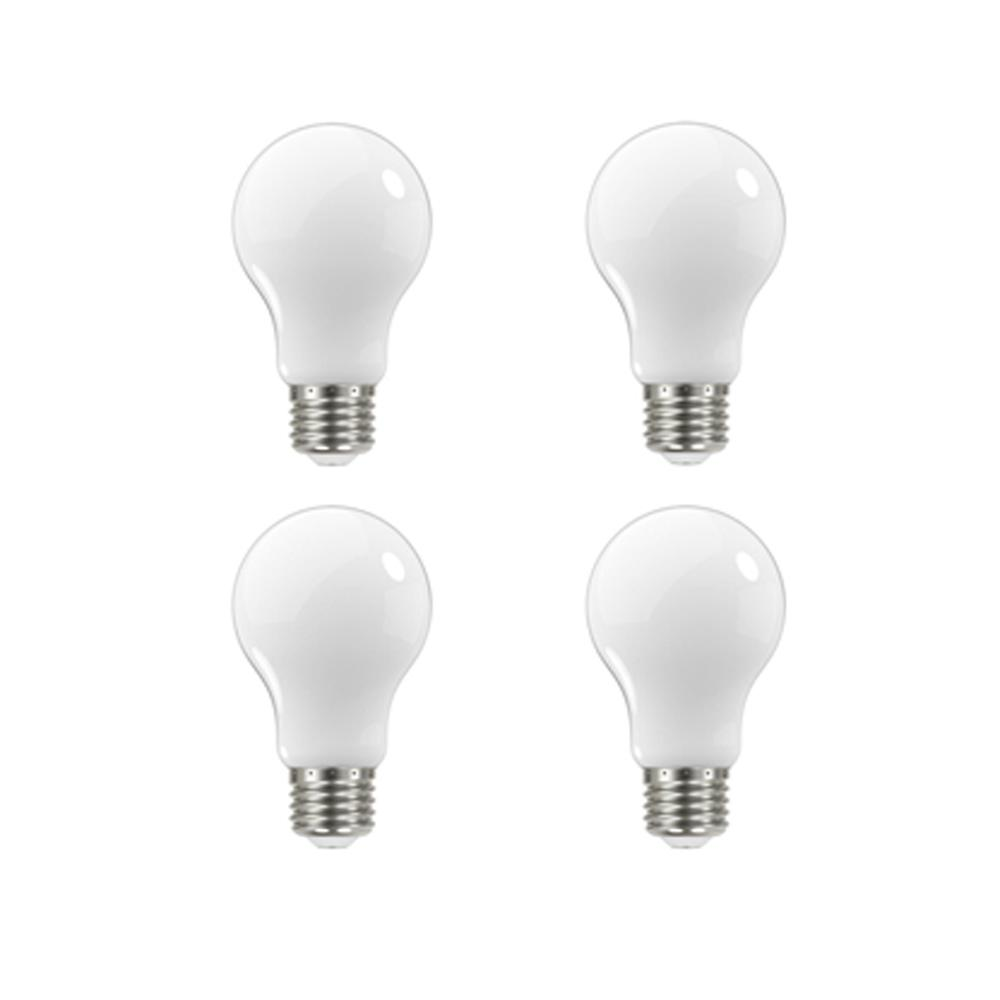 EcoSmart 60-Watt Equivalent A19 Dimmable Energy Star Frosted Filament LED Light Bulb Soft White (4-Pack)