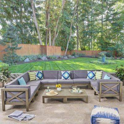 Hadlee Gray 12-Piece Wood Outdoor Sectional Set with Dark Gray Cushions