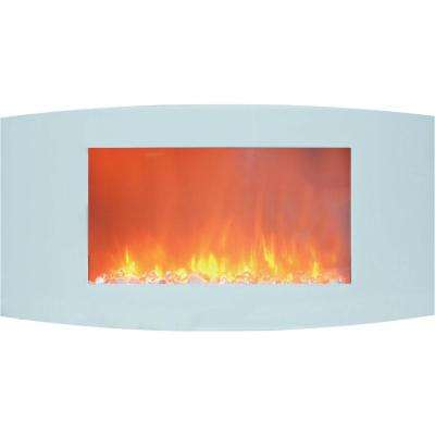 Fireside 35 in. Wall-Mount Electric Fireplace with White Curved Panel and Crystal Rocks