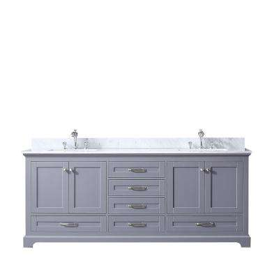 Dukes 80 in. Double Vanity Dark Grey, White Carrera Marble Top, White Square Sinks and no Mirror