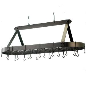 Old Dutch 15.5 inch x 19 inch x 48 inch Oval Oiled Bronze Pot Rack with 24 Hooks by Old Dutch
