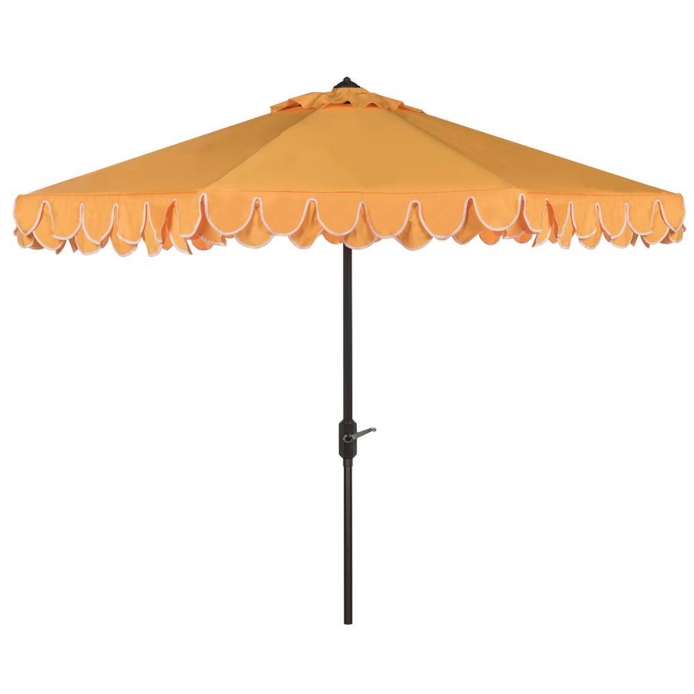 Elegant Valance 9 ft. Aluminum Market Auto Tilt Patio Umbrella in Yellow/White