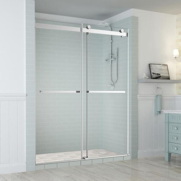 Aston Rivage 56 In To 60 In X 76 In Frameless Sliding Double Bypass Sliding Shower Door In Chrome Sdr977ez Ch 60 10 The Home Depot