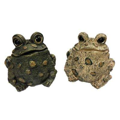 Toad Hollow Medium Tall Toad Whimsical Assortment Home and Garden Statue (2-Pack)