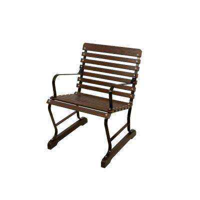 22 in. Black and Mahogany Patio Arm Chair
