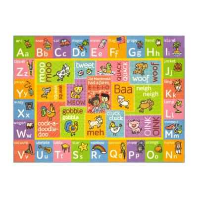 Multi-Color Kids Children Bedroom ABC Alphabet with Old McDonald's Animals Educational Learning 5 ft. x 7 ft. Area Rug
