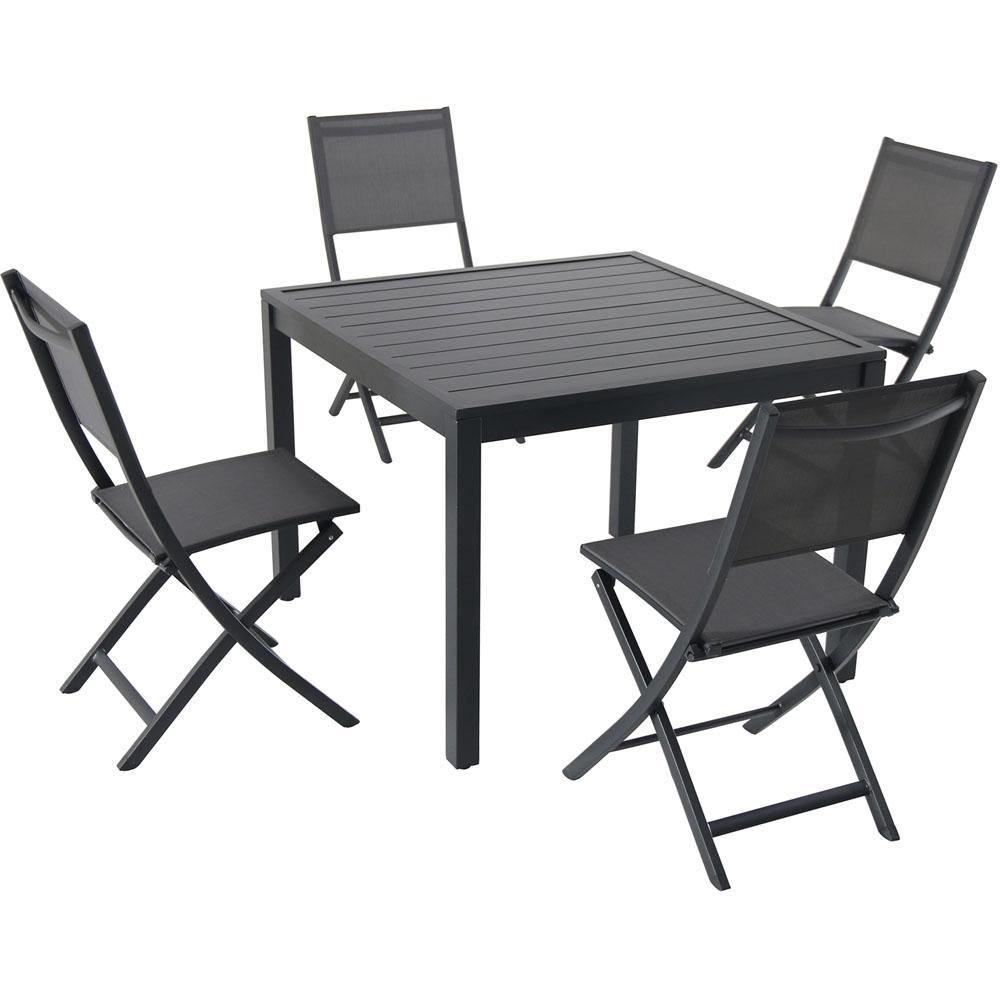 Hanover Naples Bronze 5-Piece Aluminum Square Outdoor Dining Set