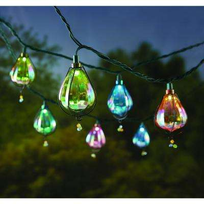 10-Light Iridescent Plastic Cover Outdoor LED String Light