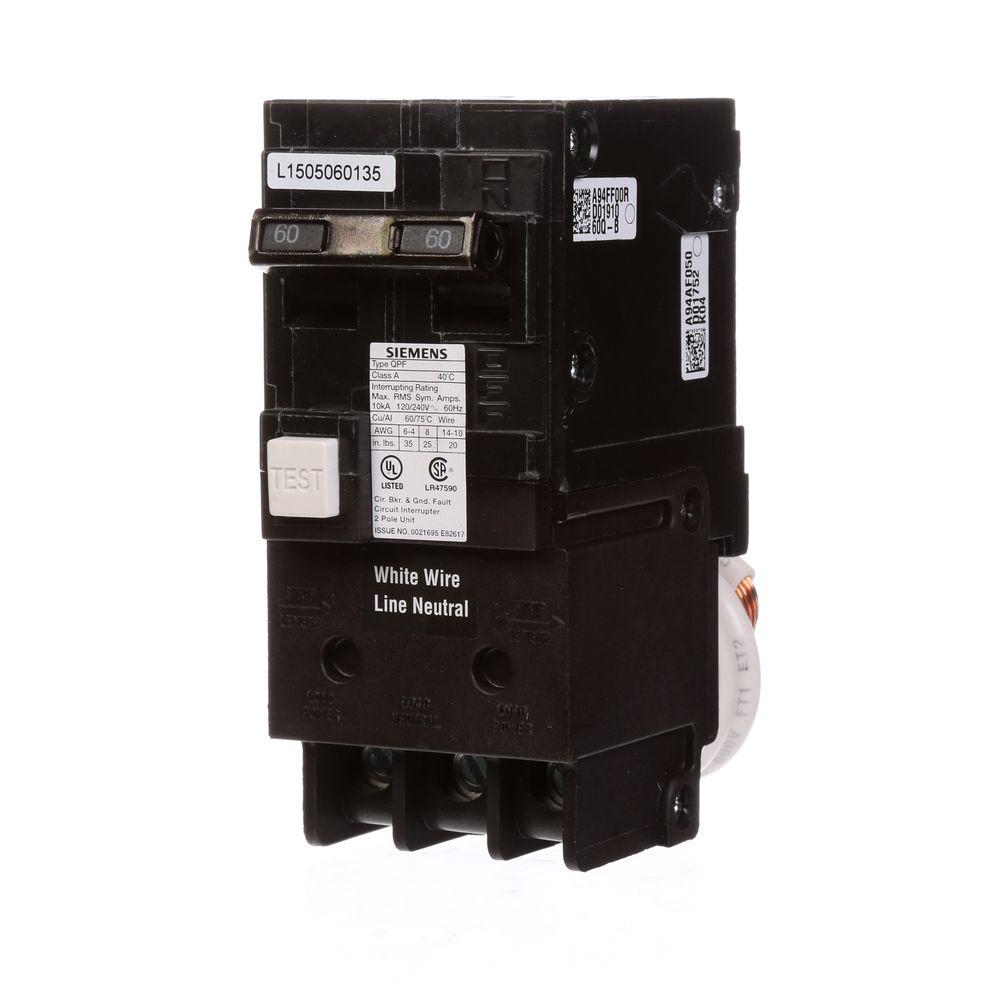 Siemens 60 Amp Double Pole Type Qpf Gfci Circuit Breaker Us2qf260ap Wiring Diagram For Dummy S