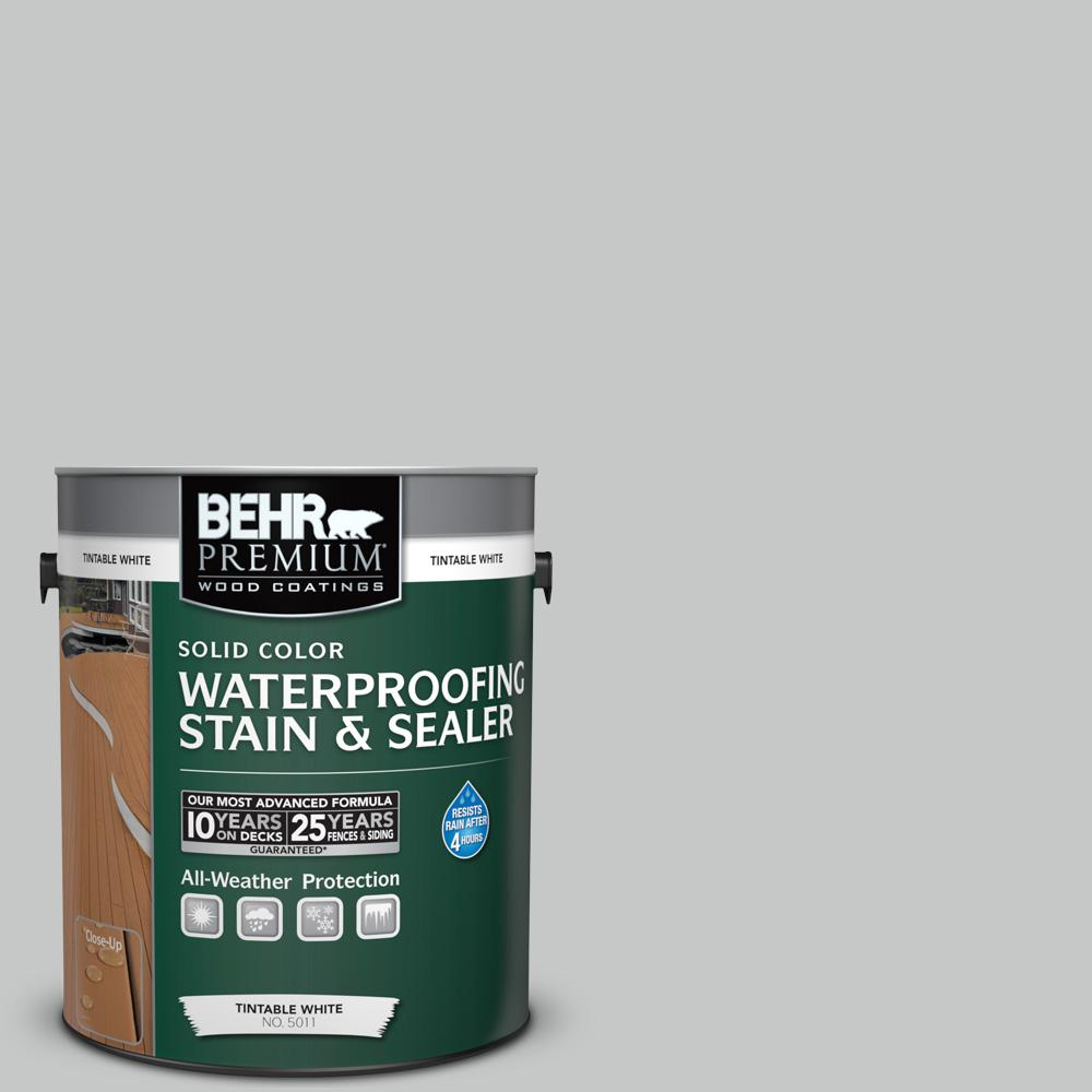 1 gal. #BNC-07 Frosted Silver Solid Color Waterproofing Exterior Wood Stain