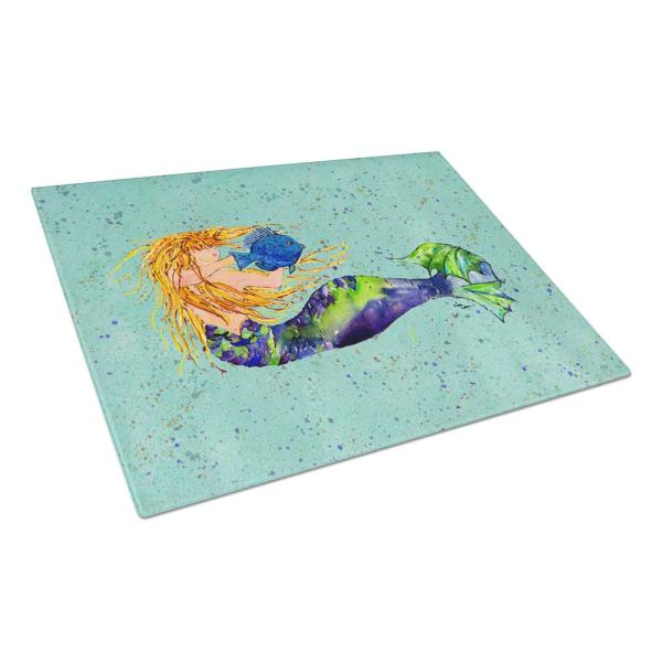 Caroline's Treasures Mermaid Tempered Glass Large Cutting Board 8336LCB
