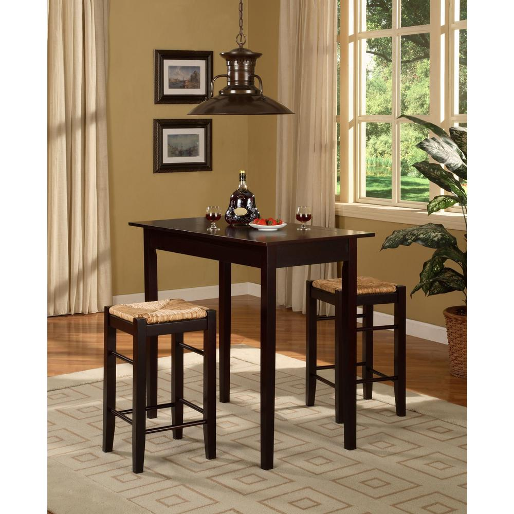 Kitchen Dining And More.Brown Bar Table Set Tavern 3 Pc Kitchen Dining Room Furniture