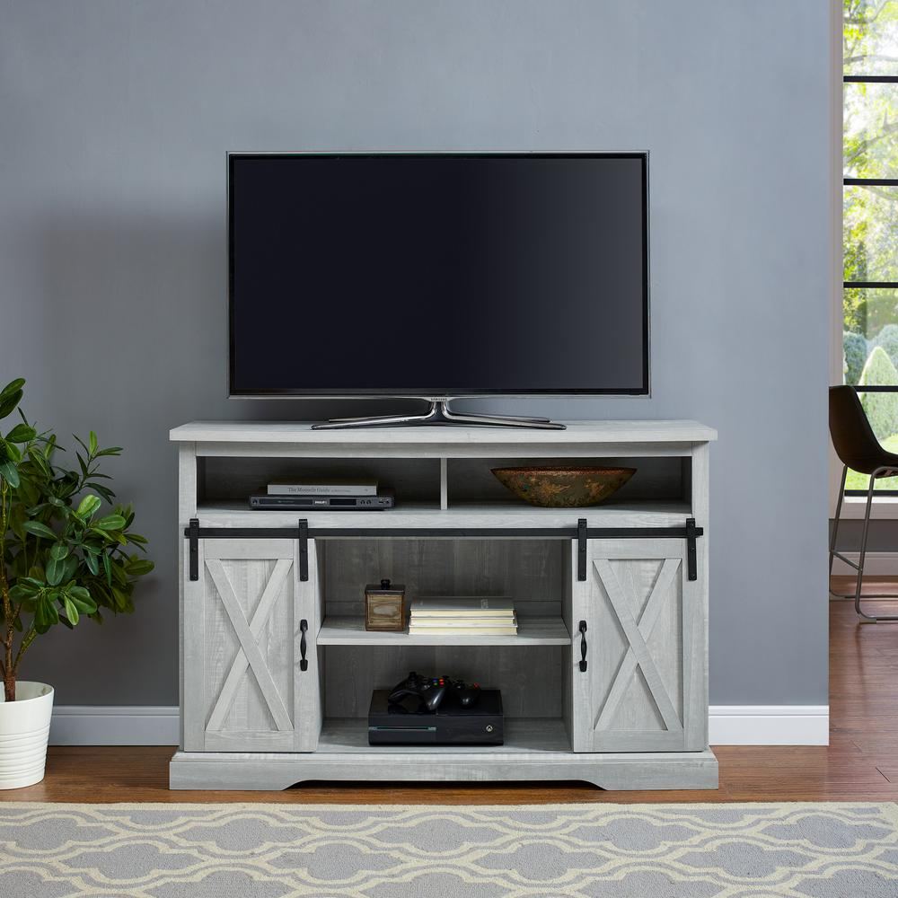 52 in. Stone Gray Composite TV Stand 56 in. with Doors