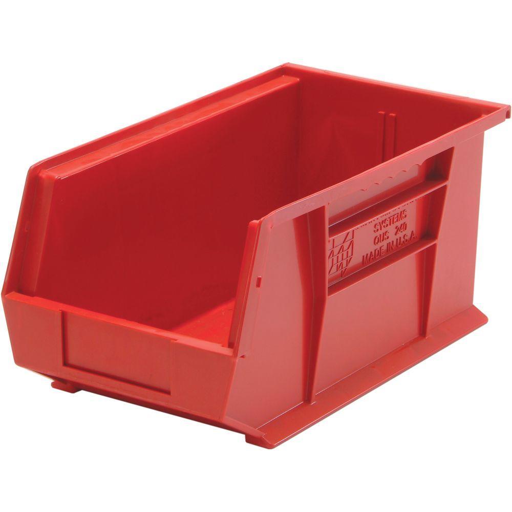 edsal 3 4 gal stackable plastic storage bin in red 12 pack pb8504r the home depot. Black Bedroom Furniture Sets. Home Design Ideas