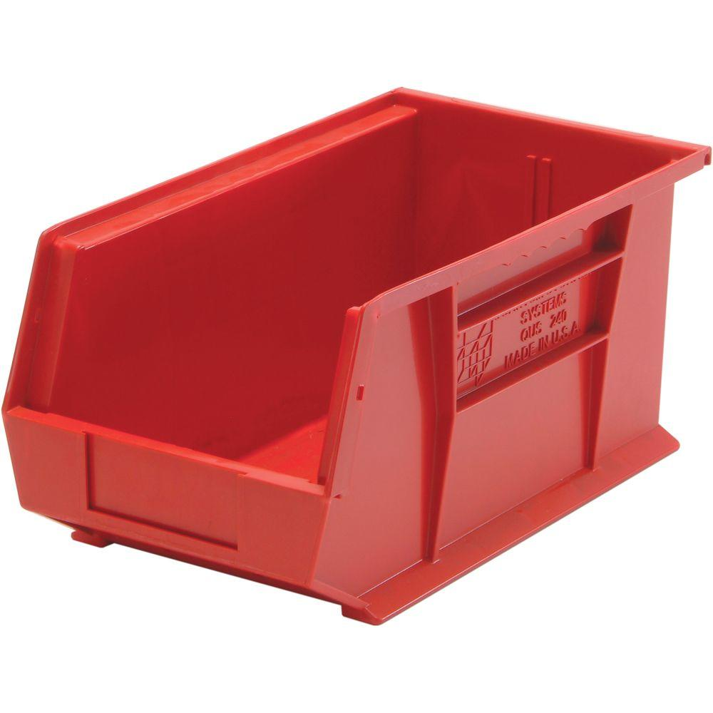 Stackable Plastic Storage Bin In Red (12 Pack)