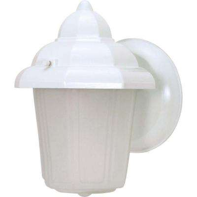 1-Light White Outdoor Wall Mount Lantern Hood Lantern with Satin Frosted Glass