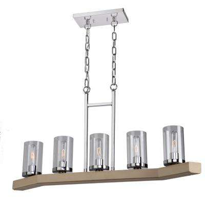5-Light Natural Light Wood and Chrome Billiard Light