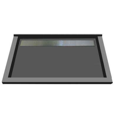 48 in. x 72 in. Triple Threshold Shower Base with Back Drain in Gray and Tileable Trench Grate